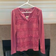 """Lucky Brand Lace Striped Thermal NWT Lucky Brand lace striped thermal top in the color """"red violet"""" which is a gorgeous pink shade. Love love love this top! In the last photo I pointed out one spot where the crochet part looks a little more distressed than the other parts (not a flaw as this piece has natural distressing like that and says so on the tag and I purchased that way). Size small Lucky Brand Tops Tees - Long Sleeve"""