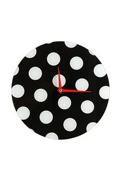 """This fun polka dot clock looks great in an urban themed room. it makes a fun statement and completes a look.<div class=""""pdpDescContent""""><BR /><b class=""""pdpDesc"""">Dimensions:</b><BR />L30 cm</div>"""