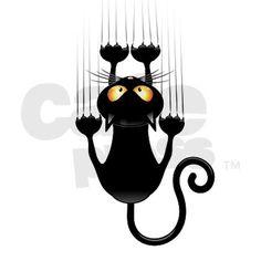Black Cat Cartoon Scratching Wall Shower Curtain on CafePress.com