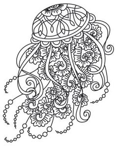 adult coloring jellyfish - Google Search