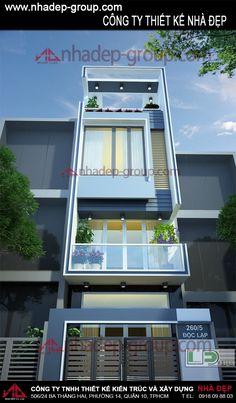 Mẫu thiết kế nhà phố đẹp 1 Modern Minimalist House, Small Modern Home, Small Tiny House, Small House Plans, Interior Exterior, Exterior Design, Building Design, Building A House, Brick House Designs