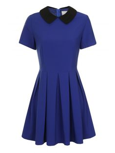 Blue Pleated Short Sleeve Black Contrast Collar Structured Dress - from Lavish Alice UK