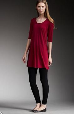 Super simple outfit to put together - long red tunic, black leggings, and flats. Get the look with the best selling leggings on Amazon for only $12.99.