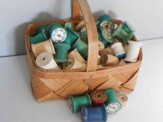 100 Wooden Spools Vintage Antique with Basket. $24.00, via Etsy.