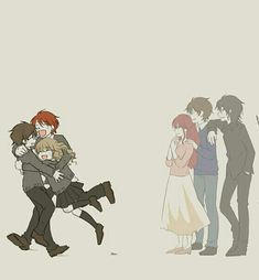 Harry Potter, Ron Weasley, Hermione Granger, Lily Potter, James Potter and Sirius Black. Harry Potter Anime, Harry Potter Fan Art, Blaise Harry Potter, Memes Do Harry Potter, Fans D'harry Potter, Mundo Harry Potter, Harry Potter Drawings, Harry Potter Pictures, James Potter