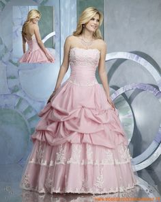 Pink prom dresses, classic romance of a celestial Prom. Look Demure in this pink strapless Prom dress with pickup skirt and corset lace up back. Pink Gowns, Pink Prom Dresses, Tulle Prom Dress, Quinceanera Dresses, Pink Dress, Strapless Dress Formal, Formal Dresses, Teal Dress For Wedding, Colored Wedding Dresses