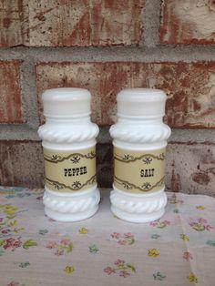 Old School / Vintage Milk Glass Salt - Pepper shakers - Tan label  on Etsy, $5.95