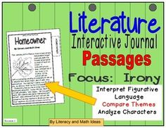 These three, original passages help students explore irony in stories. Best of all, these short passages fit directly inside of student journals. Students can highlight, underline, and annotate passages directly in their journals. Irony, theme, summarizing, and character analysis are covered in this resource.This is perfect for classroom review and homework.