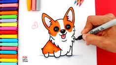 Aprende a dibujar y pintar un PERRITO CORGI Kawaii
