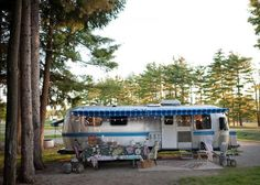 """""""Bringing beauty and comfort to the outdoors while camping is a must,"""" Sarah says. She set out to create a home on wheels for her and her family that would evoke imagination, adventure, and creativity. Looks like this mom achieved her goal — and then some."""