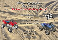 ATV 4 Wheeler birthday party invitations are excellent for kids birthday parties! These are printed using a high quality laser printer and the finished party invitations are affordable and of outstanding quality! Envelopes: White envelopes are included.Sold in sets of: Sold Individually Card Type: Flat Card Size: Approx. 5 x 7