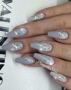 Winter Acrylic Nail Designs Idea pin kimmie louise on winter nails acrylic nail designs Winter Acrylic Nail Designs. Here is Winter Acrylic Nail Designs Idea for you. Winter Acrylic Nail Designs short acrylic nail designs you can use in s. Grey Nail Art, Gray Nails, Glitter Nail Art, Silver Glitter, Nail Designs With Glitter, Silver Nail, Best Acrylic Nails, Acrylic Nail Designs, Nail Art Designs