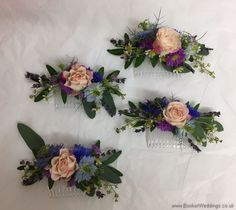 4 x bridesmaid hair combs in a just picked wild country style  Wedding Flowers Liverpool, Merseyside, Bridal Florist, Booker Flowers and Gifts, Booker Weddings