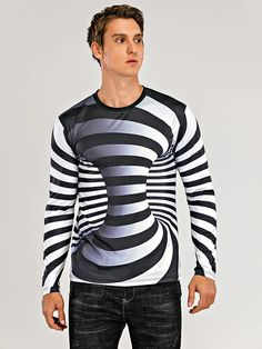 Men's Graphic optical illusion Plus Size T-shirt Print Long Sleeve Daily Tops Streetwear Exaggerated Round Neck Rainbow 2020 - US $17.24 Impression Sur Tee Shirt, Impression 3d, Street Chic, Street Wear, Mens Dressing Styles Casual, Tank Top Shirt, Tank Tops, Geile T-shirts, Top Streetwear