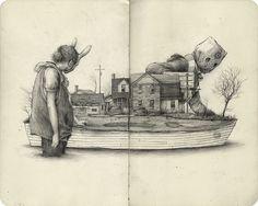 Sketchbook Drawing Visually Arresting New Sketchbook Spreads and Drawings by Pat Perry - Art, design, and visual culture. Travel Sketchbook, Sketchbook Drawings, Illustration Sketches, Illustrations, Art Drawings, Sketch Art, Sketching, Pat Perry, Drawing Artist