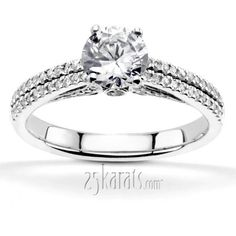 Pave Set Low Cathedral Diamond Engagement Ring (0.34 ct. tw.)