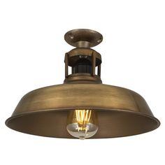 Vintage Industrial Barn Slotted Flush Mount Ceiling Light - Brass