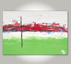 ORIGINAL Abstract Art, Red, Green, Blue, White, Black, Textured Abstract Modern Acrylic Painting (Number 21) - Size: 36 x 24