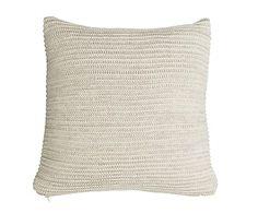 Funda de cojín en algodón Marie, crema y marrón - 40x40 cm