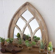 Kalalou Short Church Mirror in Wood, Rustic/Lodge Rustic Country Furniture, Rustic Decor, Farmhouse Decor, Modern Farmhouse, Farmhouse Mirrors, Antique Farmhouse, Farmhouse Lighting, Country Farmhouse, Modern Rustic