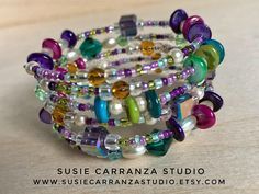 Bohemian Memory Wire Bracelet. Variety of colorful beads: