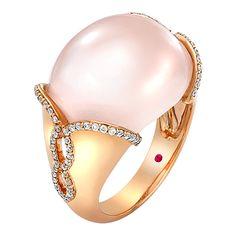 18ct Rose Gold Rose Quartz and Diamond Dress Ring