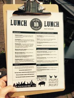 Bar Bruut lunchkaart #Leiden | Horeca menukaart op clipboard