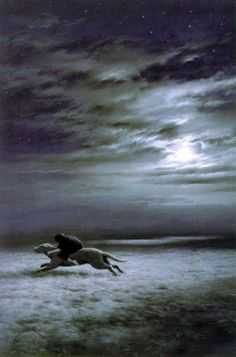 leirelatent:  Ted Nasmith - Luthien Escapes upon Huan