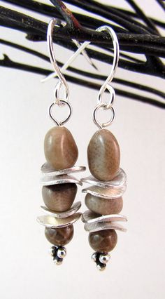 Michgian Petoskey stone earrings with sterling silver by rwilberg