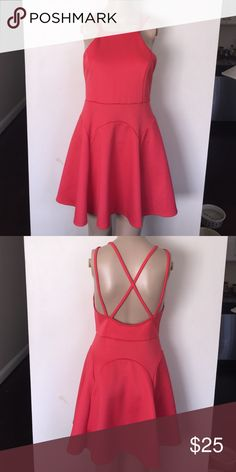 "Strappy Coral Dress Reposh -- I'm 6'0"" & it's too short for me -- adorable strappy back with flattering fit & flare Dresses Mini"