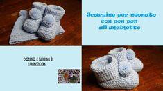 scarpine con pon pon per neonato all'uncinetto tutorial