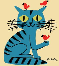 Paul Thurlby music cat birds illustration love this Vogel Illustration, Music Illustration, Friends Illustration, Cat Illustrations, I Love Cats, Crazy Cats, Cool Cats, Vintage Cat, Cat Drawing