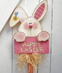 Happy Easter Bunny Yard signe lapin bois Cour par RoseArborCrafts