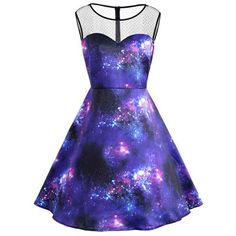 Himanjie Print Stars Clouds Nebula Galaxy Lovers Mesh Sleeveless Party Dress Women 2017 Autumn Pinup Vintage Dresses Vestidos