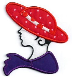 """RED HAT - CHIC FASHION LADY IRON ON APPLIQUE PATCH - STYLE H8 - 2 7/8""""W (7.3cm)"""
