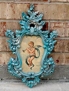 Vintage  Upcycled  Taunting TEAL  Architectural by TimelessNchic, $29.95 #pictureframe #upcycled #teal #boho #angel #cherub #chic