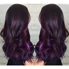 Purple hair color Purple ombre hairpainting long hair long purple hair by Masey…