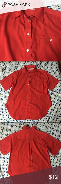 Sale 💕 Red Short Sleeved Button Up Top This red short sleeve button up top is in great condition. No holes or stains. 100 % polyester. Yves Saint Clair Tops Blouses