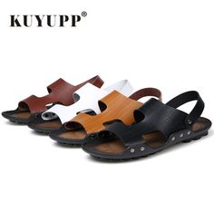 c233a1f7451 KUYUPP Famous Brand Casual Men Sandals Slippers Comfortable Retro Shoes  Beach flip flops Soft Leather Rivet