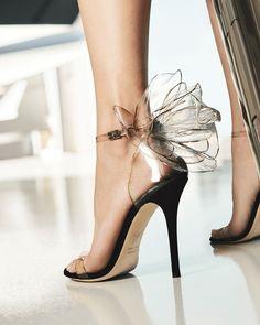 Giuseppe Zanotti Vinyl Flower Ankle-Strap Sandals Image 2 of Vinyl Flower Ankle-Strap Sandals Fancy Shoes, Pretty Shoes, Beautiful Shoes, Cute Shoes, Dr Shoes, Me Too Shoes, Shoes Heels, Black Shoes, Black Evening Shoes