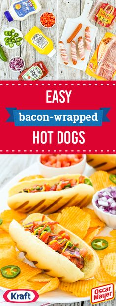 Easy Bacon-Wrapped Hot Dogs – Nothing says summer quite like enjoying dinnertime outdoors. Before your family heads to the table, whip up this recipe for Easy Bacon-Wrapped Hot Dogs. Complete with a t (Top Bun Hot Dogs) Dog Recipes, Bacon Recipes, Grilling Recipes, Bacon Meals, Snack Recipes, Snacks, Bacon Hot Dogs, Bacon Wrapped Hotdogs, Hot Dog Toppings