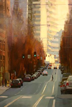 "Paintings of Portland, Oregon by Aimee Erickson (one of my favorite artists) this one is called ""Solstice Crossing"""