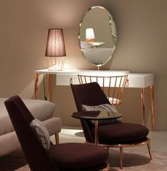 coiffeuse alinea, coiffeuse meuble fly avec miroir rond