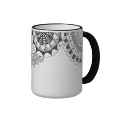 zentangle mandalas - roses coffee mug - Could make with sharpie markers.