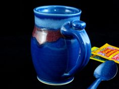Pottery Mug 5 tall ceramic coffee cup  Blue by DougSmithPottery, $22.00