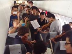 Not funny, but fantastic!!!!  AGH is a big board with lots of pinners - enjoy this!!!  Orchestra delayed on airplane performs 'pop-up' concert