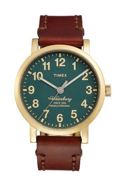 Timex® 'Waterbury' Leather Strap Watch, 40mm