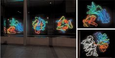 neon works at Wellcome Trust > mix between hand drawn and microbacterial