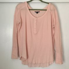 American Eagle Waffle knit Henley Light pink waffle knit Henley. Worn once. Hung to try. Size medium can fit a size small. No signs of wear. American Eagle Outfitters Tops Tees - Long Sleeve