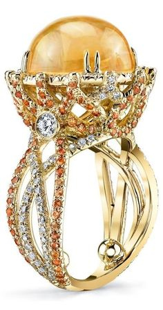 Erica Courtney  Crossover Ring ~ Mexican Fire Opal,  Orange Saphires and Diamonds set in 18 ct Gold